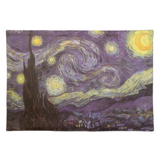 Starry Night by Vincent van Gogh, Vintage Fine Art Place Mats