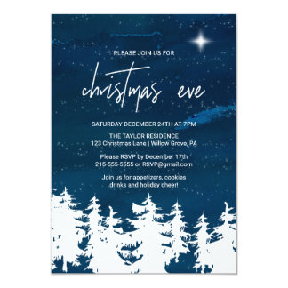 Starry Night Christmas Eve Party Card
