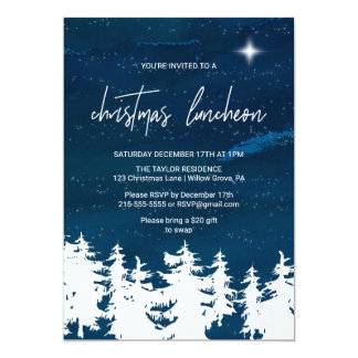 Starry Night Christmas Luncheon Card