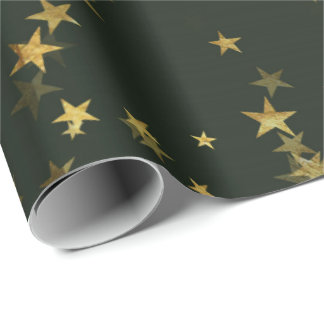 Starry Night Deep Green Forest Gold Confetti Wrapping Paper