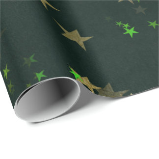 Starry Night Deep Green Forest Gold Emerald Wrapping Paper