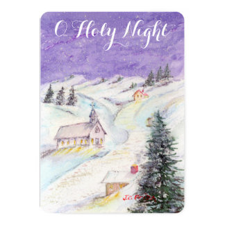 "Starry Night Draped in Snow Christmas Church Party 5"" X 7"" Invitation Card"