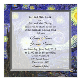 Starry Night, famous fine art wedding invitation. Card