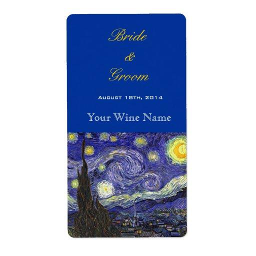 Starry Night fine art wedding wine labels Custom Shipping Labels