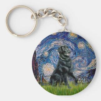 Starry Night - Flat Coated Retriever 2 Basic Round Button Keychain