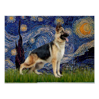 Starry Night - German Shepherd 13 Poster