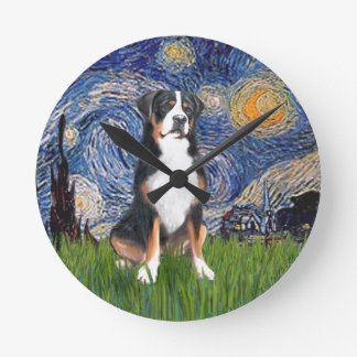 Starry Night - Greater Swiss Mountain dog Round Clock