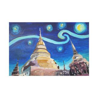 Starry night in Bangkok Thailand Canvas Print