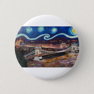 Starry Night in Budapest Hungary with Parliament 2 Inch Round Button
