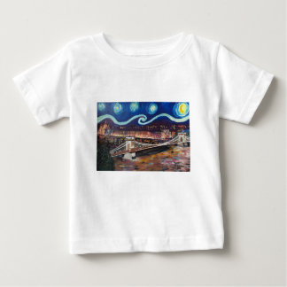 Starry Night in Budapest Hungary with Parliament Baby T-Shirt