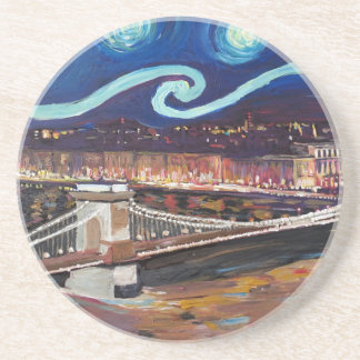 Starry Night in Budapest Hungary with Parliament Beverage Coaster