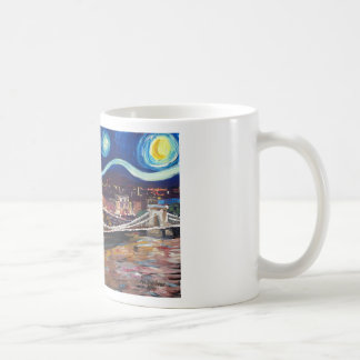 Starry Night in Budapest Hungary with Parliament Coffee Mug