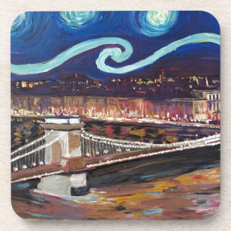 Starry Night in Budapest Hungary with Parliament Drink Coaster