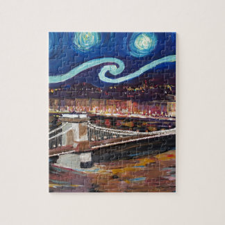 Starry Night in Budapest Hungary with Parliament Jigsaw Puzzle