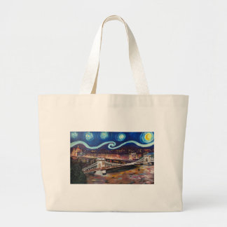 Starry Night in Budapest Hungary with Parliament Large Tote Bag