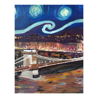 Starry Night in Budapest Hungary with Parliament Letterhead
