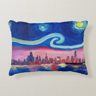 Starry Night in Chicago Illinois Van Gogh inspired Decorative Pillow