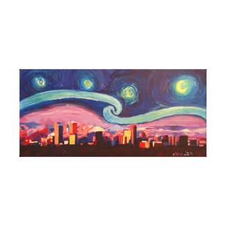 Starry Night in Denver Colorado Skyline Canvas Print