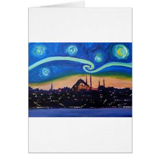 Starry Night in Istanbul Turkey Card