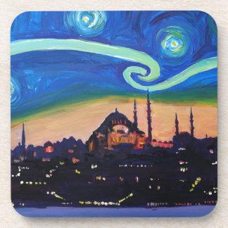 Starry Night in Istanbul Turkey Coasters