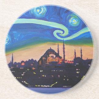Starry Night in Istanbul Turkey Drink Coaster