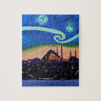 Starry Night in Istanbul Turkey Jigsaw Puzzle