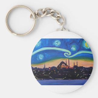 Starry Night in Istanbul Turkey Keychain