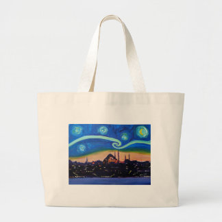 Starry Night in Istanbul Turkey Large Tote Bag