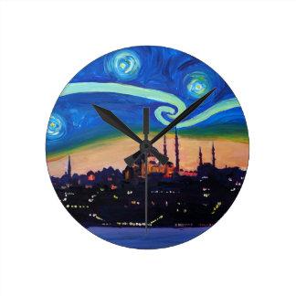 Starry Night in Istanbul Turkey Round Clock