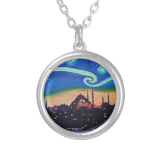 Starry Night in Istanbul Turkey Silver Plated Necklace