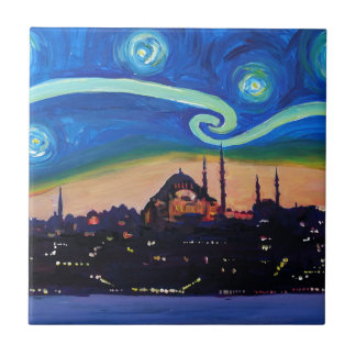 Starry Night in Istanbul Turkey Tile