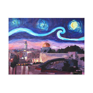 Starry Night in Jerusalem over Wailing Wall Canvas Print