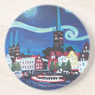 Starry Night in Luebeck Germany Coasters