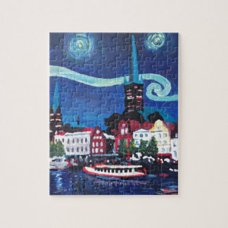Starry Night in Luebeck Germany Jigsaw Puzzle