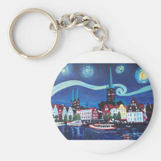 Starry Night in Luebeck Germany Keychain