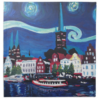 Starry Night in Luebeck Germany Napkin