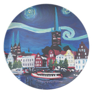 Starry Night in Luebeck Germany Party Plates