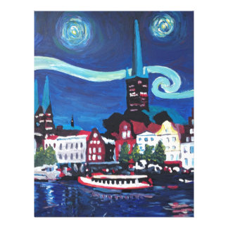 Starry Night in Luebeck Germany Personalized Letterhead