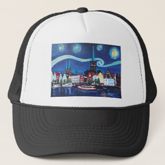 Starry Night in Luebeck Germany Trucker Hat