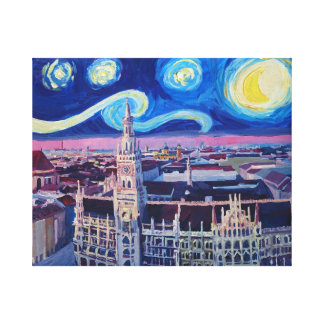 Starry Night In Munich with city hall Canvas Print