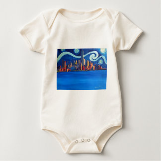 Starry Night in New York City - Freedom Tower Baby Bodysuit