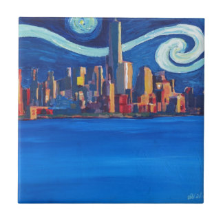 Starry Night in New York City - Freedom Tower Ceramic Tile