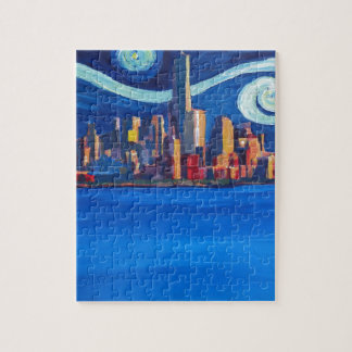 Starry Night in New York City - Freedom Tower Jigsaw Puzzle
