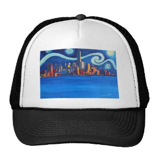 Starry Night in New York City - Freedom Tower Trucker Hat