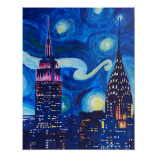 Starry Night in New York - Van Gogh Inspirations Poster