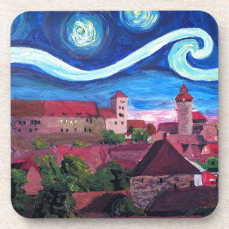 Starry Night in Nuremberg Germany with Castle Beverage Coaster