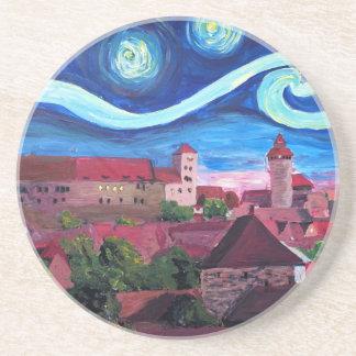 Starry Night in Nuremberg Germany with Castle Beverage Coasters