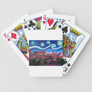 Starry Night in Nuremberg Germany with Castle Bicycle Playing Cards