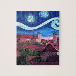 Starry Night in Nuremberg Germany with Castle Jigsaw Puzzle