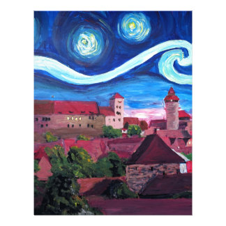 Starry Night in Nuremberg Germany with Castle Letterhead